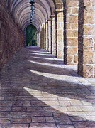 Jerusalem Paintings - Solomons Colonade by Ted Head