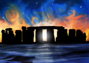 Holiday Digital Art Posters - Solstice at Stonehenge  Poster by David Kyte