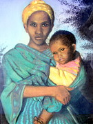 Mother And Child Greeting Cards Posters - Somalian mother with child Poster by Barbara Jacquin