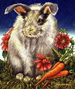 Easter Bunnies Posters - Some Bunny is a Fuzzy Wuzzy Poster by Linda Simon