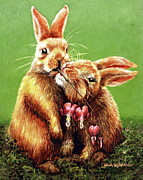 Fineartamerica.com Paintings - Some Bunny Loves You by Linda Simon