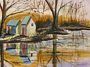 Autumn Drawings Prints - Some Ice on the Pond Print by John  Williams