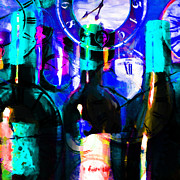 Wine-bottle Digital Art - Some Things Get Better With Time - Square p180 by Wingsdomain Art and Photography