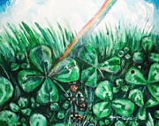 Leprechaun Paintings - Some Where Under The Rainbow by Shana Rowe