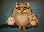 Owl Posters - Someday Ill Be As Wise As Mommy Poster by Rebecca Mott