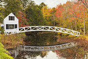 Somesville Photos - Somesville Bridge in Autumn Mount Desert Island Maine by Ken Brown