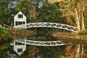 New England Villages Framed Prints - Somesville Footbridge Framed Print by John Greim