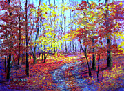 Woodland Scenes Pastels Prints - Something About Fall Print by Christine Bass