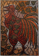 Contemporary Tribal Art Paintings - Something to Crow About by Ephrem Kouakou