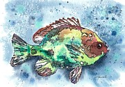 Brightly Paintings - Somethings Fishy by Barbara Jewell