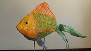 Featured Sculpture Originals - Somethings Fishy by Sandra Durning