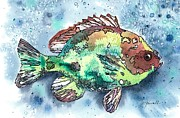 Fish Print Prints - Somethings Fishy Two Print by Barbara Jewell