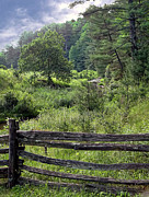 Split Rail Fence Photos - Somewhere Along The Parkway by Carolyn Fletcher