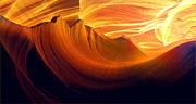 Red Art - Somewhere in America series - Golden yellow light in Antelope Canyon by Lilia D
