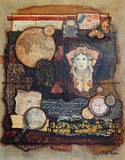 Beautiful Woman Mixed Media Prints - Somewhere in Time Print by Candy Mayer