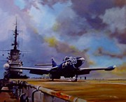 Carrier Painting Originals - Somewhere Off Korea by Terence R Rogers