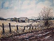 Old Fence Posts Painting Prints - Somewhere Out West  Print by Lynne Haines