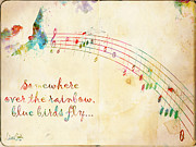 Music Paper Framed Prints - Somewhere Over the Rainbow Framed Print by Nikki Marie Smith