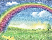 Rainbows Drawings Framed Prints - Somewhere Over The Rainbow Framed Print by Paul Van Scott