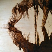 Mustang Pyrography Prints - Somewhere West of Laramie Print by Adam Owen