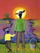 Gullah Art Framed Prints - Son Raise Framed Print by Patricia Sabree