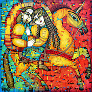 Couple Painting Prints - SONATA for two and unicorn Print by Albena