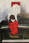 Girl Playing Piano Paintings - Sonata III by Patricia Riascos