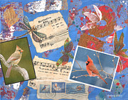 Song Mixed Media Originals - Song Birds by Audrey Peaty
