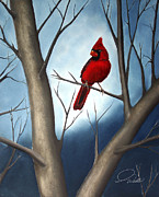Whistles Posters - SONG BIRDS - Northern Male Cardinal Poster by Andrew Wells