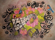 Music Score Paintings - Song of My Heart and Soul by Meldra Driscoll