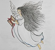 Bible Drawings Prints - Songs of Angels Print by Eloise Schneider