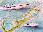 Chart Paintings - Sonic Racing Boat Bermuda Nautical Chart Art Peek by Cathy Peek