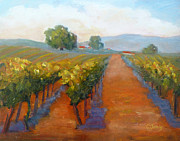 Rows Painting Posters - Sonoma Vineyard Poster by Carolyn Jarvis