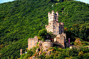 Rhine Valley Posters - Sooneck Castle on the Rhine River Poster by Marilyn Burton