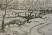 Snowy Trees Drawings - Sope Creek Bridge by Gretchen Allen
