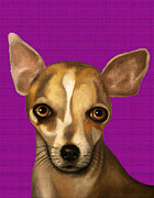 Chihuahua Paintings - Sophia In Purple by Leah Saulnier The Painting Maniac