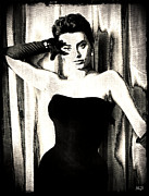 1950s Movies Digital Art Framed Prints - Sophia Loren - Black and White Framed Print by Absinthe Art By Michelle LeAnn Scott