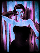 1950s Movies Digital Art Framed Prints - Sophia Loren - Blue Pop Art Framed Print by Absinthe Art By Michelle LeAnn Scott