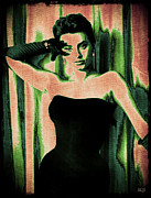 Famous Songs Digital Art Framed Prints - Sophia Loren - Green Pop Art Framed Print by Absinthe Art By Michelle LeAnn Scott