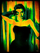 Famous Songs Digital Art Framed Prints - Sophia Loren - Neon Pop Art Framed Print by Absinthe Art By Michelle LeAnn Scott