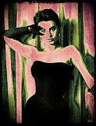 1950s Movies Digital Art Framed Prints - Sophia Loren - Pink Pop Art Framed Print by Absinthe Art By Michelle LeAnn Scott