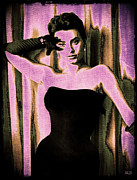 1950s Movies Digital Art Framed Prints - Sophia Loren - Purple Pop Art Framed Print by Absinthe Art By Michelle LeAnn Scott