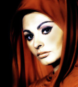 Youthful Digital Art Posters - Sophia Loren Poster by Zeana Romanovna