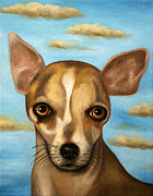 Chihuahua Paintings - Sophia With Sky by Leah Saulnier The Painting Maniac
