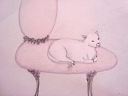 Decoration Pastels Posters - Sophisticated Cat Poster by Christine Corretti