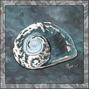 Sophisticated Coastal Art Original Sea Shell Painting Beachy Sea Snail By Megan Duncanson Of Madart Print by Megan Duncanson