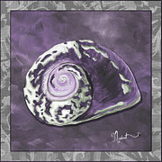 Sophisticated Coastal Art Original Sea Shell Painting Purple Royal Sea Snail By Madart Print by Megan Duncanson