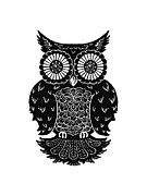 Black And White Owl Paintings - Sophisticated Owls 3 of 4 by Kyle Wood