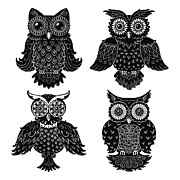 Black And White Owl Paintings - Sophisticated Owls All 4 by Kyle Wood