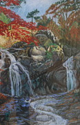 Waterfall Pastels Originals - Sorak Serenade by Larry Wilkinson